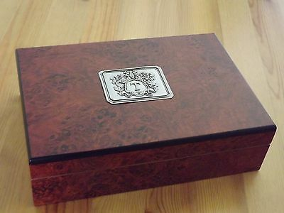 New Monogram Personalized Dark Burl Cedar Travel Cigar Humidor Pewter Initial T