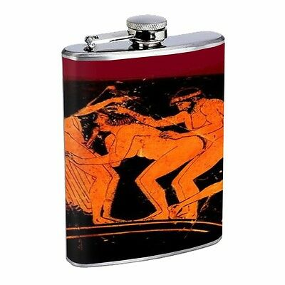 Gay Ancient Greek Erotic Art D528 Flask 8oz Stainless Steel Train Two Men