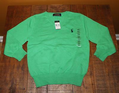 Polo By Ralph Lauren Boys Green V-Neck Sweater Size 6/6T Nwt