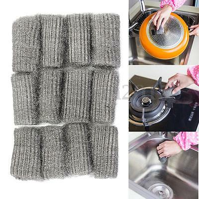 24x Steel Wool Pads Kitchen Wire Cleaning Ball Stainless Steel Pan Cleaner Tool