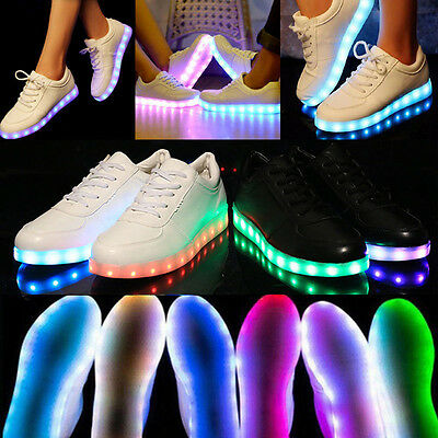 LED Night Light Luminous Shoes Men Women USB Lace Up Casual Sneaker Trainers NEW