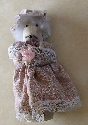 Cute Handmade Creme Rat Mouse Figurine Doll Bottle Pink Dress Hat Lace Flowers