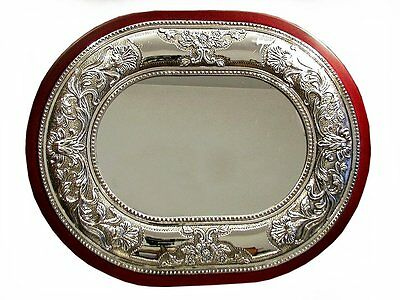 Vintage Silver Plate Tray / Mirror Makeup Dressing Table Wooden Frame Gift