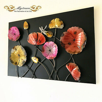 Metal Framed Wall Sculpture Lotus Dragonfly Flower Indoor Home Art Decoration