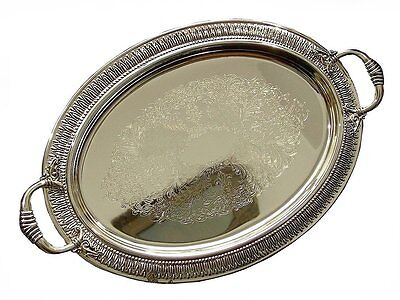 Vintage Silver Plate Oval  Tray Salver Ornate Two Handled Gift Antique 18 1/3 ""