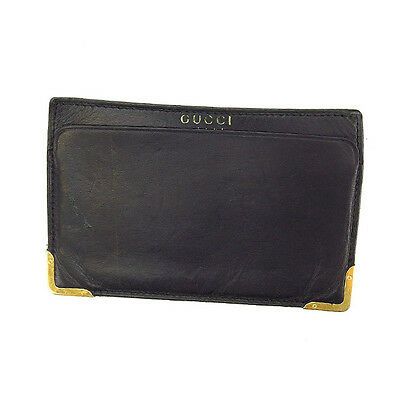 Auth Gucci card case with angular plate unisexused I338