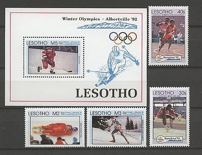 Olympiade 1992, Olympic Games - Lesotho - 4 Werte, 1 Bl. ** MNH