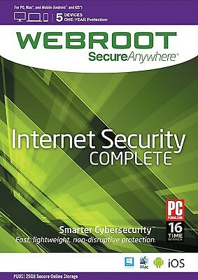 Webroot SecureAnywhere Internet Security COMPLETE, 5 Devices 1 Year NEW DOWNLOAD