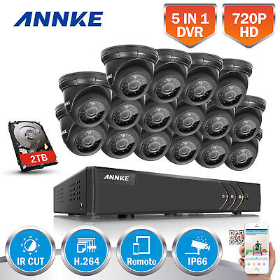 ANNKE 16CH 1080N 4IN1 DVR IP66 720P TVI Security Camera System 2TB HDD 1080P VGA