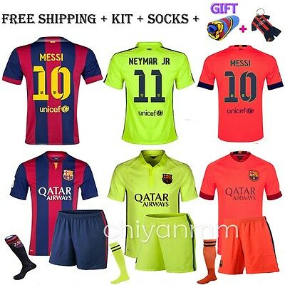 NEW Jersey Football kit for Adult Messi Home Away Soccer Men With Socks