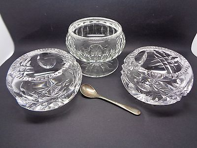 Vintage Pair Of Cut Crystal Salts With Footed Mustard Pot? With Spoon