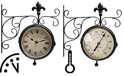 Esschert Design Plastic Station Clock and Thermometer