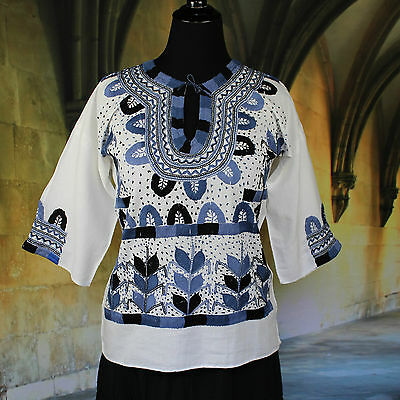 Blues & Black Muslin, Corn Motif Hand Embroidered Blouse, Mexican Hippie Boho