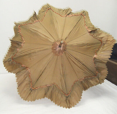 Vintage Original Victorian Silk Parasol with Bamboo Handle believed to be 1890s