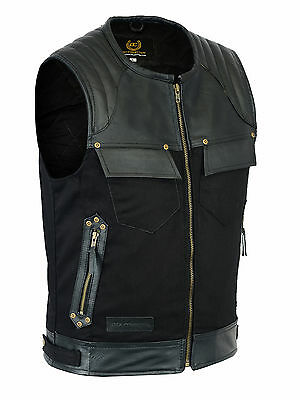 Mens  Biker Vest Leather Trim & Black Denim Waistcoat