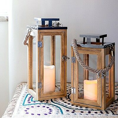Lights4fun, Inc. Large Wooden Battery Operated LED Flameless Candle Lantern for