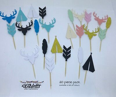 Cupcake Toppers Tribal Boho Theme Teepee Deer Feather Arrow Gold Teal Pink Black