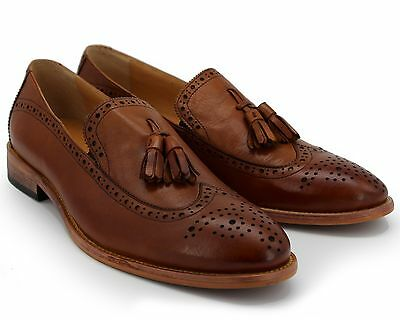 Brand New Men's Tan Brown Leather Slip On Tassel Loafers Size Uk 8 / Eu 42