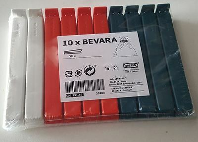 COLOUR NEW IKEA Bevara 10 Large Food Storage Clips Freezer Fridge Bag Sealing