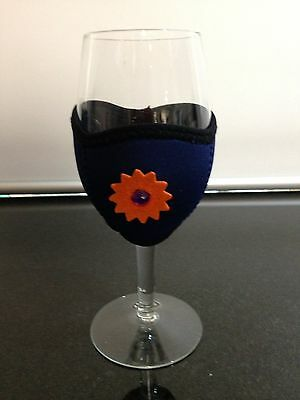 NEW!  Navy WINE Glass Coolers -  A GLASS with CLASS! Uniquely handcrafted