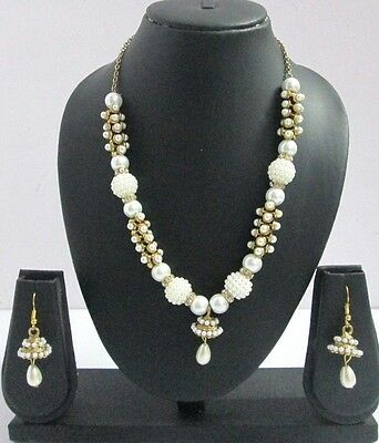 Indian Fashion Jewelry Bollywood Bridal White Pearl Beads Necklace Earrings Sets