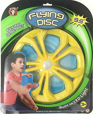 Flying Disk LED Light Toy Set Light Up Kids Frisbee Outdoor Colour UFO Toy Game