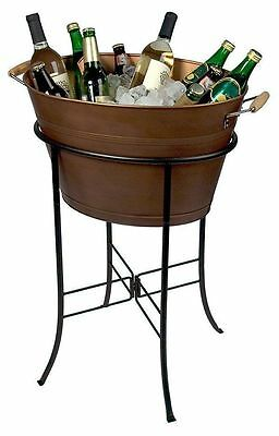 Antique Copper Ice Bucket Stand Party Wine Champagne Beer Drink Bar Tub Cooling