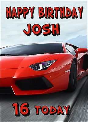 LAMBORGHINI SPORTS CAR Personalised Birthday Card 15th 16th 17th SON BROTHER tag