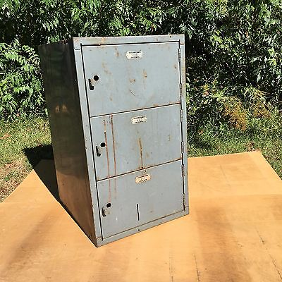 High School Vintage Locker 3 Sections with Tags Metal Industrial Reclaimed