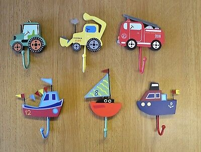Selection of Kids Childrens Boys Girls Single Wall Hook Coat Hooks