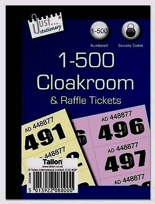 Raffle Tickets & Cloakroom DUPLICATE NUMBER BOOK SECURITY NUMBERED -WH2 -R3B 000