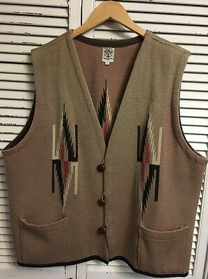 Vintage Ortega's 100% Wool Hand Woven Southwest Aztec Vest Made In USA Men's XL
