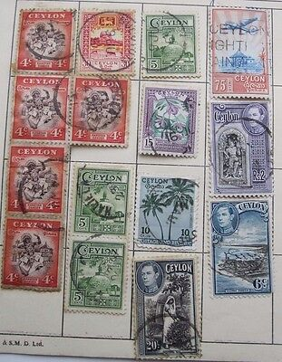 15  Ceylon   Stamps  From Old Album