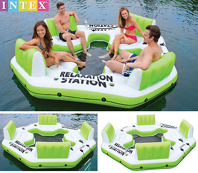 Inflatable Floating Island Pool Water Lake Party Giant Raft Lounge 4 Person NEW