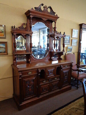English 19th Century Carved Walnut Mirrored Sideboard c.1860's  Inv.#2016B