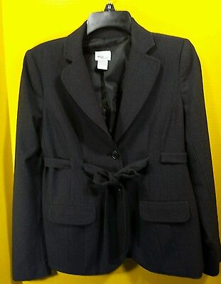 Mimi Maternity Gray Button Front Belted Blazer Jacket Career Size Small EUC