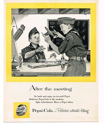 1955 PEPSI-COLA Boy Scouts Playing With Model Airplanes R T HANDVILLE VTG ADVERT