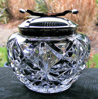 Lovely Vintage Cut Glass Crystal Sugar Bowl With Integrated Epns Pascalls Tongs