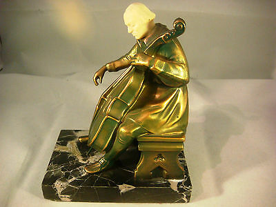 Vintage Bronze / Iron Statue of a Cello Player Bookend by J.Ruhl