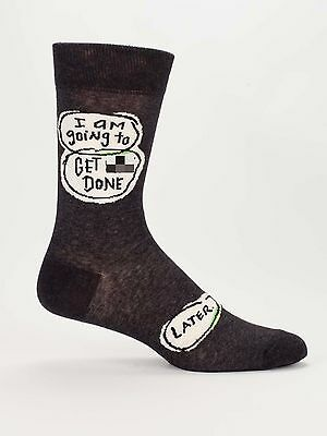 Blue Q Men's Crew Funny Novelty Socks, Get S*** Done. Later. - Charcoal (OSFA)