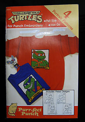 New Vintage 1990 NINJA TURTLES Purr-Fect Punch Embroidery Iron-On's TMNT
