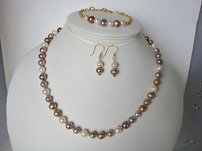 Cultured pearl necklace, bracelet & 9ct gold earrings on 925  Sterling Silver