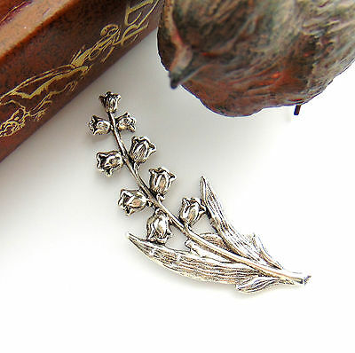 ANTIQUE SILVER Lily of the Valley Spray FLOWER Stamping ~ Finding (FB-6053)