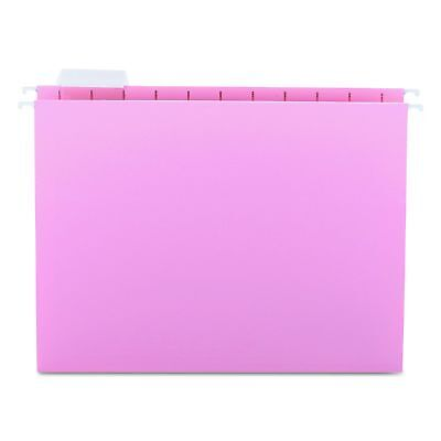 Smead Hanging File Folder with Tab 1/5-Cut Adjustable Tab Letter Size Pink 25...