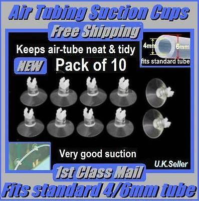 SUCTION CUPS: PACK OF 10: FOR AQUARIUM/PUMP 6.mm AIR-LINE TUBING CLIP: NEW