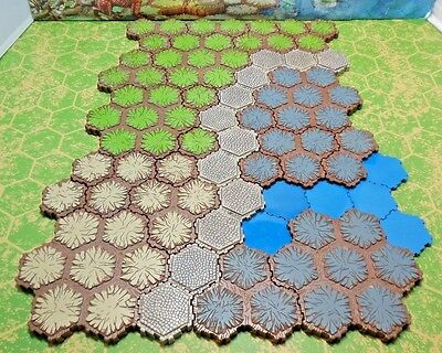 87 Hexes of Heroscape Terrain  Grass, Rock, Sand, Road and Blue Opaque Water