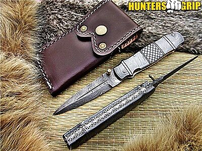 Huntersgrip Custom Damascus Steel  Pocket Folding Knife/liner Lock/ Hg-K10405