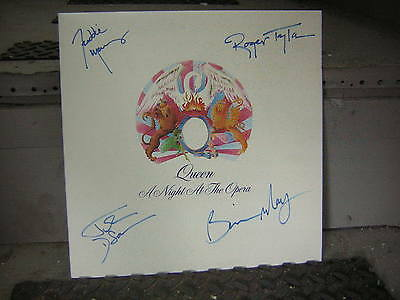 Queen Signed Lp Night At The Opera X4 Freddie Mercury Brian May