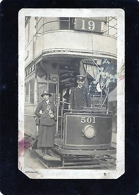 Manchester Tram on the Denton - Conran St route, Real Photographic Postcard, RP