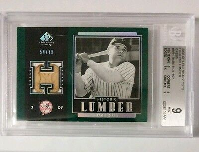 Babe Ruth PSA9 GAME USED BAT **/75 Authentic Lumber 2003 Upper Deck SP Legend